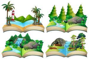 conjunto de paisajes naturales en libro abierto vector