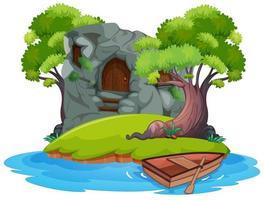 casa de piedra en la isla vector