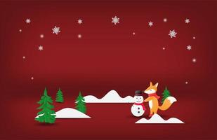 Paper art happy fox and snowman on red vector