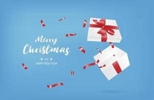 Merry Christmas banner with open gift box on blue