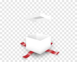 Open white gift box and red ribbon vector