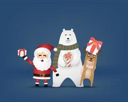 Paper cut style Santa, polar bear and reindeer with gifts
