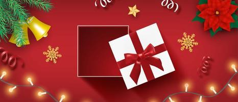 Merry Christmas celebration design with open gift box vector