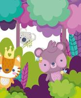 Cute animals in the forest vector