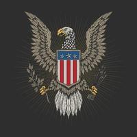 emblema veterano del águila americana vector