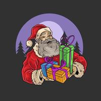 Santa Claus holding brightly colored gifts vector