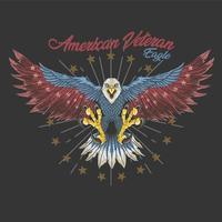 diseño de águila veterano americano vector