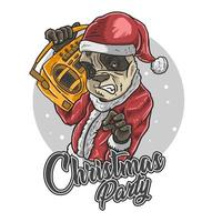 Santa Claus panda with boombox vector