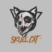 Skull cat grunge style t-shirt design vector
