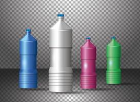 Set of Various Colored Plastic Bottles Products vector