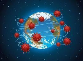planeta tierra mundial con covid-19 vector