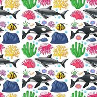 Seamless background design with cute sea creatures