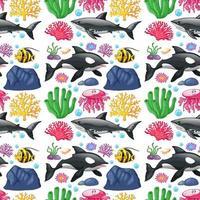 design de fundo sem emenda com criaturas do mar bonito