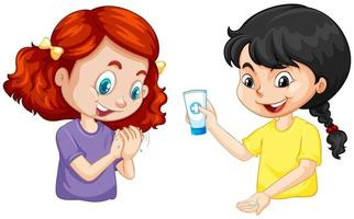Dos chicas lavarse las manos con gel de manos sobre fondo blanco. vector