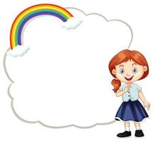Cute girl and cloud template vector