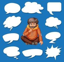 Different shapes of speech bubbles and man thinking vector