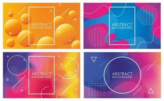 Fluids Set of Multicolor Abstract Backgrounds