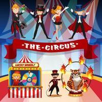 Joyful circus, fun fair, amusement park theme  vector