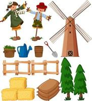 Set of farming items with scarecrows and windmill vector