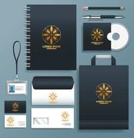 Set of Navy, Gold Stationary Templates on Gray Background vector
