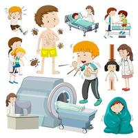 Children with different types of sickness vector