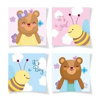 Little baby animals invitation card templates
