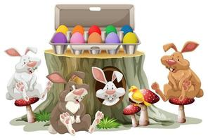 Bunny easter and colorful eggs on white background