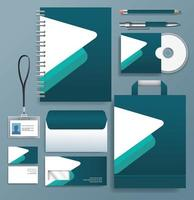 Set of Teal, White Stationary Templates on Gray Background vector