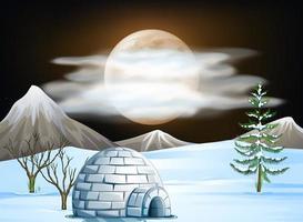 Igloo and snow scene at night