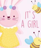 Little baby girl rabbit with bees vector