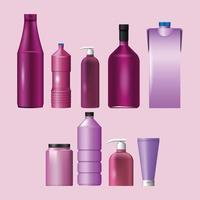 conjunto de materiales púrpuras y estilos botellas iconos de productos