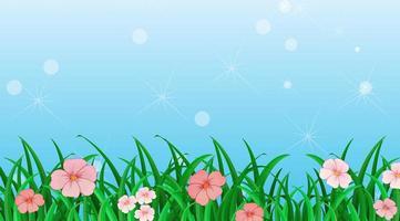 plantilla de diseño de fondo con flores en el jardín vector