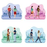 Group of People with Medical Masks in the Park and City vector