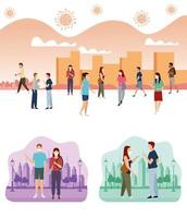 Group of People Using Medical Masks in the Park and City vector