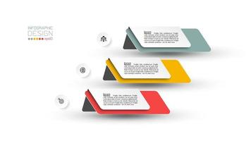 Business infographic folded tab 3 step design  vector