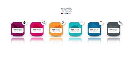 design de infográfico de negócios de várias etapas de caixa redonda