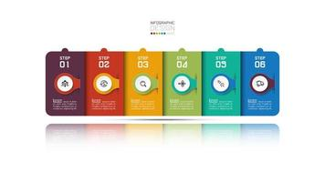 Modern rectangular business infographic design with six steps  vector