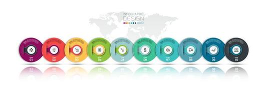 New circle modern 10 steps business design  vector