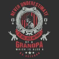 Veteran grandpa quote and emblem vector