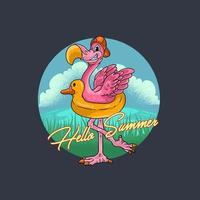 Summer flamingo bird vector