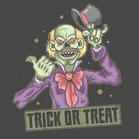diseño de truco o trato de payaso de halloween