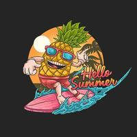 surf de piña tropical vector