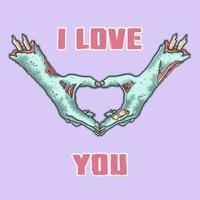 Halloween zombie hands in heart shape vector