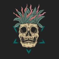 Skull face with leaves in head vector