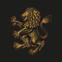 Gold lion emblem vector