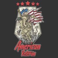 American army veteran design with soldier being carried