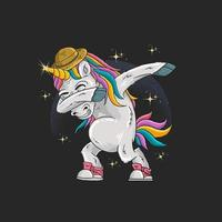 Unicorn with hat dabbing in front of sparkles vector