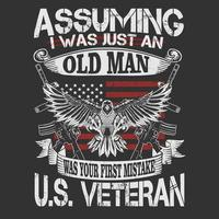 US veteran emblem with eagle and quote vector