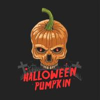 Halloween skull pumpkin vector