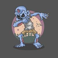 Blue zombie dancing vector
